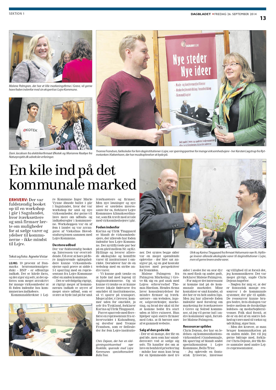 Dagbladet Roskilde 26.9.2014 kommunal iværksætterdag